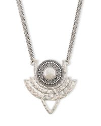 Lucky Brand | Metallic Freshwater Pearl Double Chain Medallion Necklace | Lyst