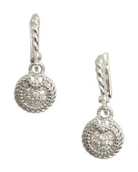 Judith Ripka | Metallic Silver Small Pave Circle Earrings | Lyst