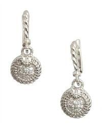 Judith Ripka - Metallic Silver Small Pave Circle Earrings - Lyst