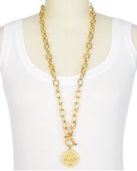 Juicy Couture | Metallic Gold Medallion Pendant Necklace | Lyst