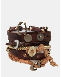 ASOS - Leather Bracelet Pack In Brown With Anchor And Gold Beads for Men - Lyst