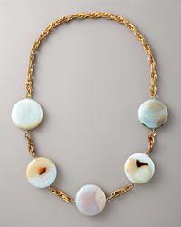 Devon Leigh - Metallic Long Rounddisc Necklace - Lyst