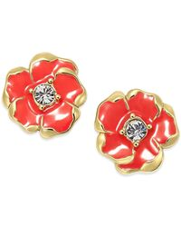 Kate Spade | Red Gold-tone Beach House Bouquet Stud Earrings | Lyst