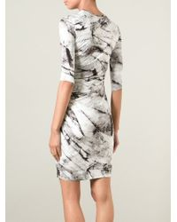 Helmut Lang - Gray Marble Print Fitted Dress - Lyst