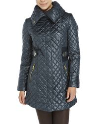Via Spiga | Green Side Tab Quilted Coat | Lyst