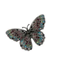Betsey Johnson | Multicolor Butterfly Effect Pave Stretch Ring | Lyst