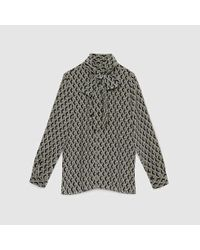 Lyst - Gucci Wicker Print Silk Shirt With Scarf in Metallic for Men 8e1afb0740f9