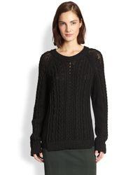 Rag & Bone - Black Nala Cable-Knit Fisherman Pullover - Lyst