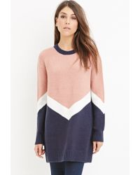 Forever 21 - Blue Chevron-patterned Longline Sweater - Lyst