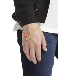 Marc By Marc Jacobs - Pink Bow Embellished Gold Tone Bracelet - Lyst
