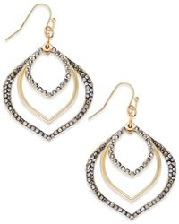 INC International Concepts - Metallic Gold-tone Gray Pavé Orbital Drop Earrings - Lyst