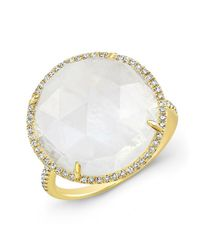 Anne Sisteron | Metallic 14kt Yellow Gold Moonstone Diamond Round Cocktail Ring | Lyst