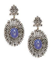 Bavna - Purple Tanzanite, Champagne Diamond & Sterling Silver Drop Earrings - Lyst
