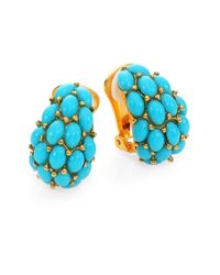 Kenneth Jay Lane - Blue Cabochon Clip-on J-hoop Earrings - Lyst