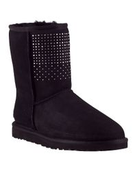 UGG - Classic Short Bling Black Suede - Lyst