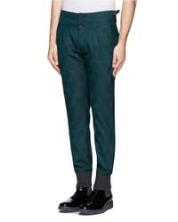 Paul Smith - Green Ribbed Cuff Shadow Check Pants for Men - Lyst