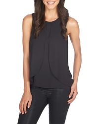 1.STATE | Black Double Layer Ruffle Blouse | Lyst