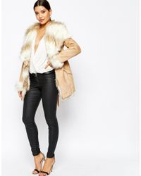 Lipsy - Natural Coat With Faux Fur Trim And Lining - Lyst