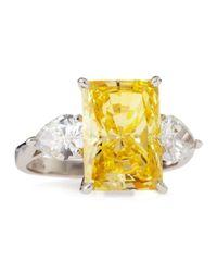 Fantasia - Yellow Canary Cz Emerald-Cut Ring - Lyst