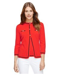 Brooks Brothers | Red Silk And Cotton Cardigan | Lyst