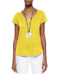 Eileen Fisher - Yellow Slubby Short-sleeve Scoop-neck Tee - Lyst