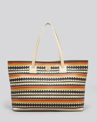 Tory Burch   Natural Tote Robinson Zig Zag East West   Lyst