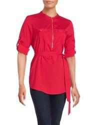 Calvin Klein | Red Zip Placket Tunic | Lyst