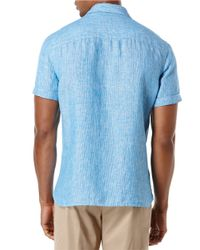 Perry Ellis | Blue Linen Stripe Sportshirt for Men | Lyst