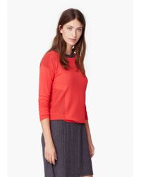 Mango - Pink Openwork Panel Sweater - Lyst