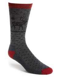 Woolrich | Gray 'heritage Deer' Wool Blend Crew Socks for Men | Lyst