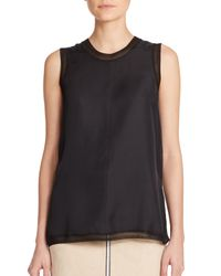 Rag & Bone | Black Maude Sheer-trim Silk Tank Top | Lyst