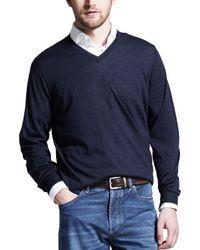 Brunello Cucinelli | Blue Fine-gauge V-neck Sweater for Men | Lyst