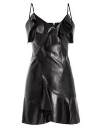 Balmain | Draped Leather Mini-dress - Black | Lyst