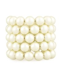 Kenneth Jay Lane | Natural Pearly Wire-wrap Bracelet | Lyst