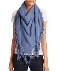 White + Warren | Blue Fringed Cashmere Triangle Scarf | Lyst