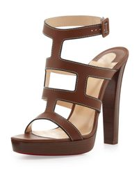 Christian Louboutin | Brown Cardamona Ankle-Wrap Red Sole Sandal | Lyst