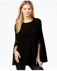 Guess | Black Zip-detail Sweater Cape | Lyst