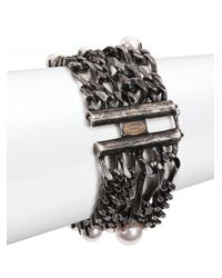Lanvin | White Faux Pearl Four-strand Chain Bracelet | Lyst