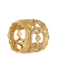 Armenta   Metallic 18k Yellow Gold Open Scalloped Crivelli Ring With Diamonds   Lyst