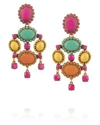 Oscar de la Renta - Multicolor Goldplated Resin Clip Earrings - Lyst