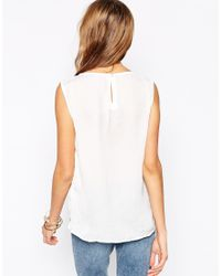 Vero Moda - Natural Sleeveless Top With Double Layered Hem - Lyst