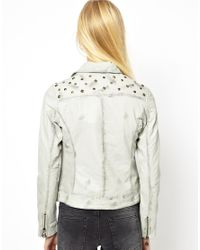 Doma Leather | Gray Leather Jacket with Studded Back and Shoulders | Lyst