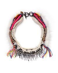 Venna - Multicolor Fur Trim Crystal And Threadwork Necklace - Lyst