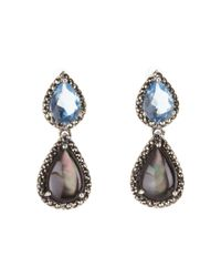 Judith Jack | Sterling Silver Black and Blue Double Teardrop Earrings | Lyst
