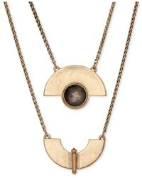 Lucky Brand | Metallic Gold-tone Geo Labordorite Necklace | Lyst
