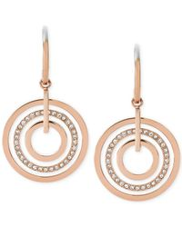 Michael Kors - Pink Clear Circle Drop Earrings - Lyst