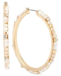 Kenneth Cole | Metallic Gold-tone Beaded Hoop Earrings | Lyst