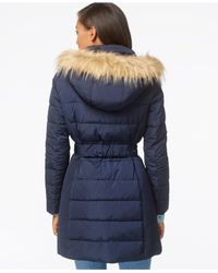 Tommy Hilfiger - Blue Faux-fur-trim Belted Puffer Coat - Lyst