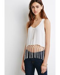 Forever 21 | White Lattice Fringe Racerback Tank | Lyst