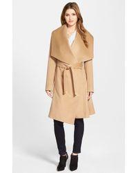 Diane von Furstenberg Brown 'harlow' Drape Collar Wool Blend Wrap Coat